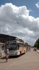Helicóptero da  SSP sobrevoa a cidade