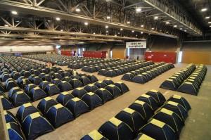 Barracas onde os campuseiros descansam da maratona