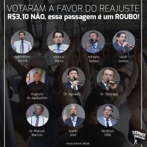 Relação dos vereadores que votaram a favor do reajuste da tarifa