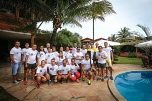 Grupo dos jornalistas que participou do treino Foto: César Oliveira