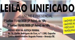 Justiça Federal realiza, este mês, leilão unificado