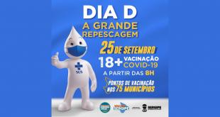 O Governo do Estado faz amanhã, 25, o Dia D de vacinação contra a Covid-19